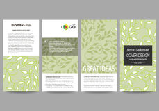 Flyers set, modern banners. Business templates. Cover design template, flat layouts. Green color background with leaves. Flyers set, modern banners. Business Stock Image