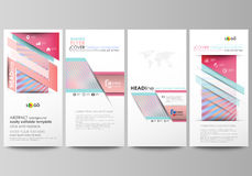 Flyers set, modern banners. Business templates. Cover template, easy editable abstract vector layouts. Sweet pink and Stock Photo