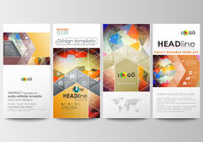 Flyers set, modern banners. Business templates. Cover template, easy editable, flat layouts. Abstract colorful triangle Stock Images
