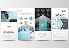 Flyers set, modern banners. Business templates. Cover template, easy editable layouts. High tech design, connecting Stock Images