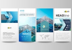 Flyers set, modern banners. Business templates. Cover template. Flat design blue color travel decoration layout, easy Royalty Free Stock Photography