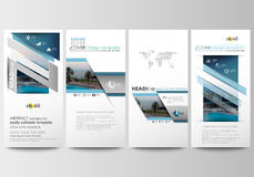 Flyers set, modern banners. Business templates. Cover template. Flat design blue color travel decoration layout, easy Stock Photography
