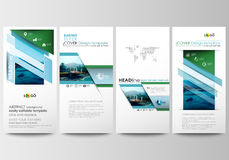 Flyers set, modern banners. Business templates. Cover template. Flat design blue color travel decoration layout, easy Royalty Free Stock Photos