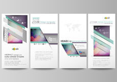 Flyers set, modern banners. Business templates. Cover template, flat style layouts, vector illustration. Bright color Stock Photography