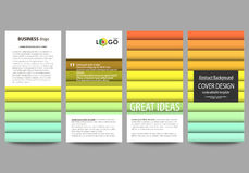 Flyers set, modern banners. Business templates. Flat style vector layouts. Bright color rectangles, colorful design Royalty Free Stock Photography