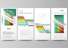 Flyers set, modern banners. Business templates. Flat style vector layouts. Bright color rectangles, colorful design Stock Photos