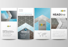 Flyers set, modern banners. Cover design template, abstract flat layouts. Scientific medical research, chemistry pattern Royalty Free Stock Image