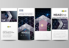 Flyers set, modern banners. Cover templates, layouts. Abstract colorful neon dots, dotted technology background. Glowing. Flyers set, modern banners. Business Royalty Free Stock Image