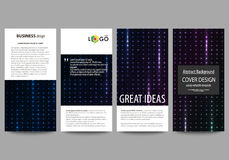 Flyers set, modern banners. Cover templates, layouts. Abstract colorful neon dots, dotted technology background. Glowing. Flyers set, modern banners. Business Royalty Free Stock Photo