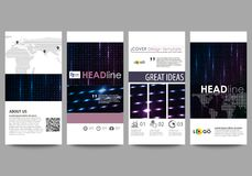 Flyers set, modern banners. Cover templates, layouts. Abstract colorful neon dots, dotted technology background. Glowing. Flyers set, modern banners. Business Royalty Free Stock Photos