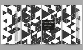Flyers set. Triangular vector pattern. Abstract black triangles on white background Royalty Free Stock Photos