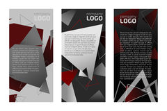 Flyers. Three flyers template with triangles background Royalty Free Stock Photo