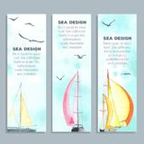 Flyers with watercolor sailboats Royalty Free Stock Photos