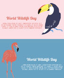 Flyers for World Wildlife Day. Vector set of two banners or flyers for World Wildlife Day Royalty Free Stock Photos