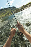 Flyfisherman close-up Royalty Free Stock Photos