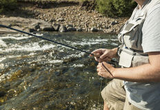 Flyfisherman close-up Royalty Free Stock Image