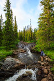 Flyfisherman in wilderness Stock Image