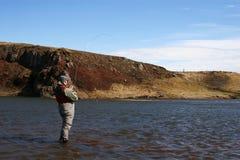 flyfishing ensamhet royaltyfri foto