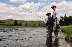 Flyfishing lesson stock photography