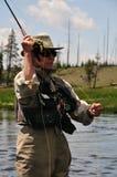 flyfishing portret zdjęcia stock