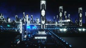 Flyg över futuristisk stad för natt Begrepp av framtid Realistisk animering 4K royaltyfri illustrationer
