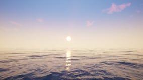 Flyg över havet under solnedgången stock illustrationer