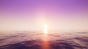 Flyg över havet under solnedgången royaltyfri illustrationer