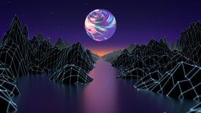 Flyg över tunnelen för neonljus Sömlöst lopp för utrymme för fi för cyberspacemaskhålsci Den sömlösa öglasrörelsedesignen av rymd vektor illustrationer
