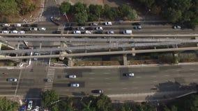 Flyg- överkant ner sikt av trafikstockning Sao Paulo stad, Brasilien