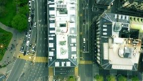 Flyg- överkant-nersikt av gator av Genève switzerland stock video