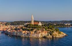Flyg- for av Rovinj, Kroatien Fotografering för Bildbyråer