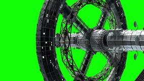 Flyg av ett stort interplanetariskt rymdskepp på den gröna skärmen, 3d animering, chromatangent royaltyfri illustrationer