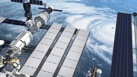 Flyg av internationella rymdstationen ovanför den stora orkanen vektor illustrationer