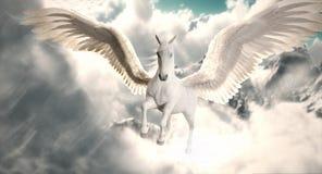 Flyg av Pegasusen Den majestätiska Pegasus hästen som högt flyger ovanför molnen, och snö nådde en höjdpunkt berg stock illustrationer