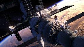 Flyg av rymdstationen över jorden vektor illustrationer