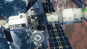 Flyg av rymdstationen ovanför jorden