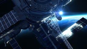 Flyg av rymdstationen på bakgrunden av solen royaltyfri illustrationer