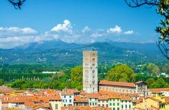 Flyg- bästa panoramautsikt av tornet för Chiesa di San Frediano katolsk kyrkaklocka i den medeltida staden Lucca för historisk mi arkivfoto