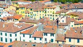 Flyg- bästa sikt av den piazzadellAnfiteatro fyrkanten i historisk mitt av den medeltida staden Lucca royaltyfri bild