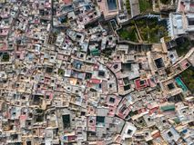 Flyg- bästa sikt av Medina i Fes, Marocko Royaltyfria Bilder