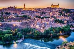 Flyg- bästa sikt av Toledo, historisk huvudstad av Spanien Arkivbild