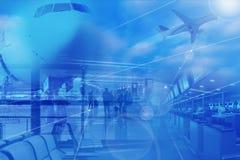 flyg- bakgrundscollagelopp Arkivbilder