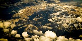flyg- bergsolnedgång Fotografering för Bildbyråer