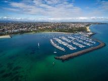 Flyg- bild av den Sandringham yachtklubban och marina Royaltyfria Foton
