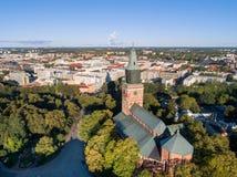 Flyg- bild av den Turku domkyrkan fotografering för bildbyråer