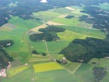 Flyg- bild av finlandssvenskt landskap royaltyfri foto