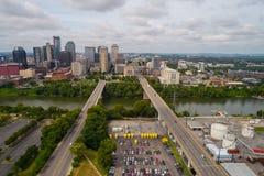 Flyg- bild av i stadens centrum Nashville Tennessee royaltyfri bild