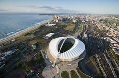 Flyg- bild av Moses Mabhida Stadium Durban Arkivfoto