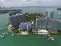 Flyg- bild Belle Isle Miami Beach arkivfoto