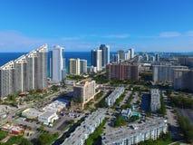 Flyg- bild Sunny Isles Beach FL Arkivfoto